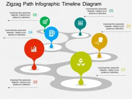 Zigzag Path Infographic Timeline Diagram Flat Powerpoint Design