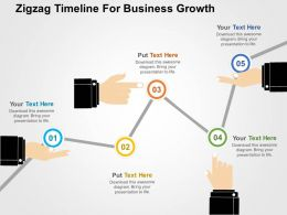 Zigzag Timeline For Business Growth Flat Powerpoint Design