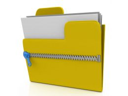 Zipped Folder With Documents Stock Photo