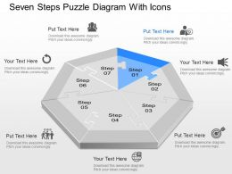 Zk Seven Steps Puzzle Diagram With Icons Powerpoint Template