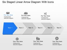 Zm Six Staged Linear Arrow Diagram With Icons Powerpoint Template