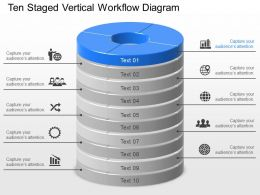 Zn Ten Staged Vertical Workflow Diagram Powerpoint Template