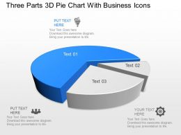 Zo Three Parts 3d Pie Chart With Business Icons Powerpoint Template
