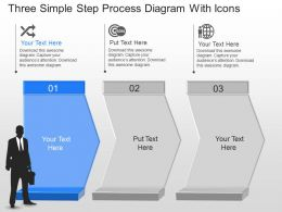 Zp Three Simple Step Process Diagram With Icons Powerpoint Template