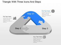 Zq Triangle With Three Icons And Steps Powerpoint Template