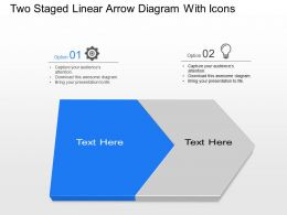 Zs Two Staged Linear Arrow Diagram With Icons Powerpoint Template