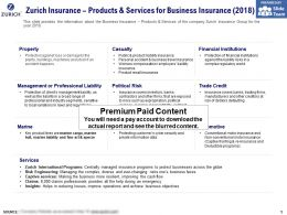 Zurich Insurance Products And Services For Business Insurance 2018