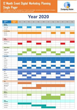 12 Month Event Digital Marketing Planning Single Pager Presentation Report PPT PDF Document