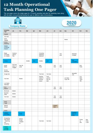 12 Month Operational Task Planning One Pager Presentation Report Infographic PPT PDF Document