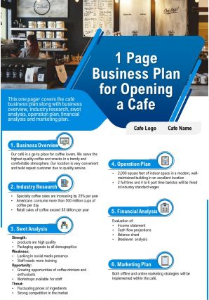 1 Page Business Plan For Opening A Cafe Presentation Report Infographic PPT PDF Document