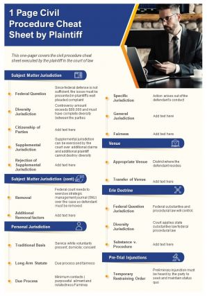 1 Page Civil Procedure Cheat Sheet By Plaintiff Presentation Report Infographic PPT PDF Document