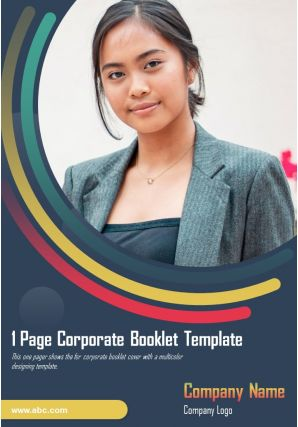 1 Page Corporate Booklet Template Presentation Report Infographic PPT PDF Document