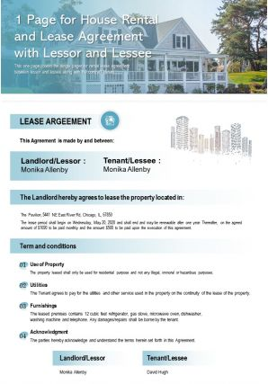 1 Page For House Rental And Lease Agreement With Lessor And Lessee Presentation Report Infographic PPT PDF Document