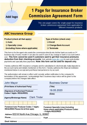 1 Page For Insurance Broker Commission Agreement Form Presentation Report PPT PDF Document