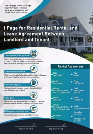 1 Page For Residential Rental And Lease Agreement Between Landlord And Tenant Report Infographic PPT PDF Document