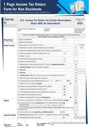 1 Page Income Tax Return Form For Non Residents Presentation Report PPT PDF Document