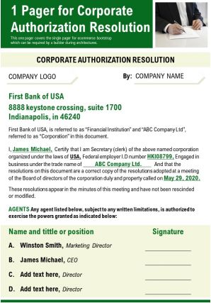 1 Pager For Corporate Authorization Resolution Presentation Report Infographic PPT PDF Document