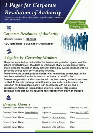 1 Pager For Corporate Resolution Of Authority Presentation Report Infographic PPT PDF Document