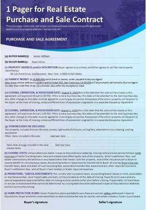 1 Pager For Real Estate Purchase And Sale Contract Presentation Report Infographic PPT PDF Document