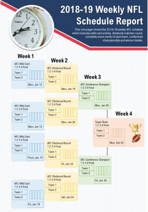 2018 19 Weekly NFL Schedule Report Presentation Report Infographic PPT PDF Document