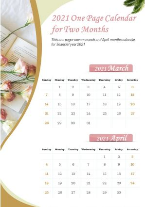 2021 One Page Calendar For Two Months Presentation Report Infographic PPT PDF Document