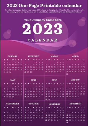 2023 One Page Printable Calendar Presentation Report Infographic PPT PDF Document