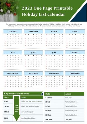 2023 One Page Printable Holiday List Calendar Presentation Report Infographic PPT PDF Document