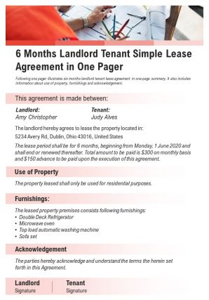 6 Months Landlord Tenant Simple Lease Agreement In One Pager Presentation Report Infographic PPT PDF Document