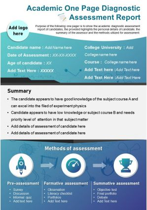 Academic One Page Diagnostic Assessment Report Presentation Report Infographic PPT PDF Document