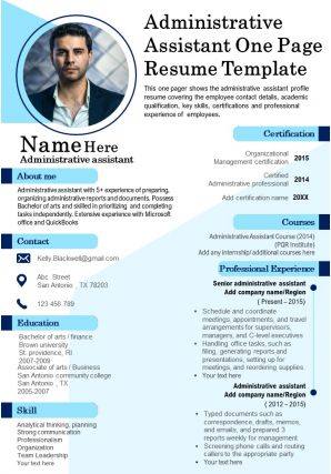 Administrative Assistant One Page Resume Template Presentation Report PPT PDF Document