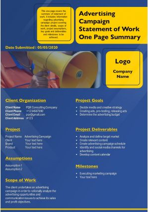 Advertising Campaign Statement Of Work One Page Summary Presentation Report Infographic PPT PDF Document