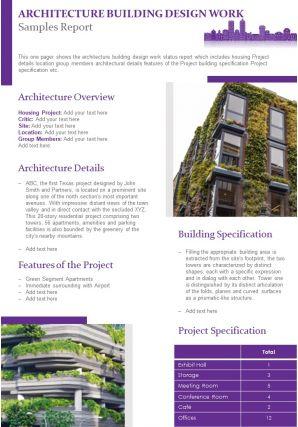Architecture Building Design Work Samples Report Presentation Report Infographic PPT PDF Document
