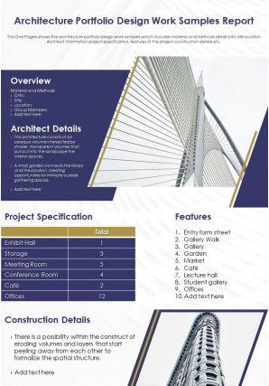 Architecture Portfolio Design Work Samples Report Presentation Report Infographic PPT PDF Document