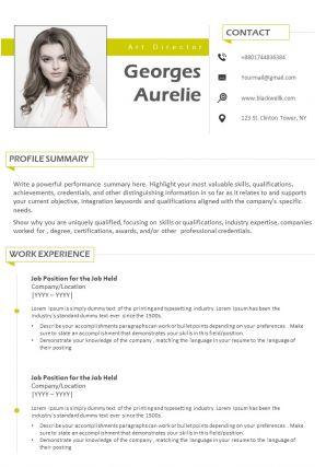 Art Director Professional Resume CV Sample Template