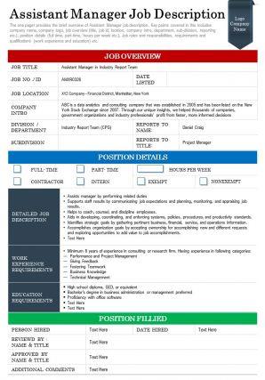 Assistant Manager Job Description Presentation Report Infographic PPT PDF Document