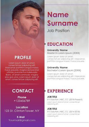 Attractive Resume Design For Business Professionals Impressive CV Template