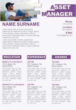 Attractive Resume Visual CV Template For Asset Manager