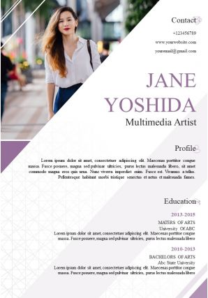 Beautiful Resume Template Multimedia Artist CV A4 Size