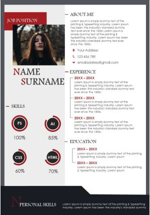 Beautiful Resume Template Powerpoint CV A4 Size Template