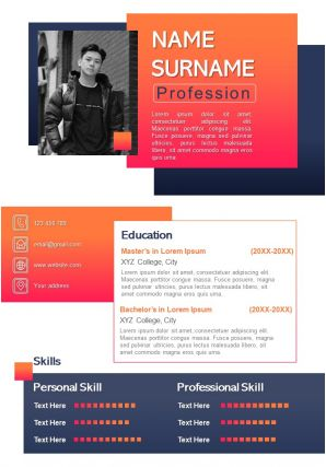 Best CV Resume Infographic Layout Editable PPT Template