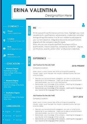 Best CV Template With Key Qualities Rewards And Skills