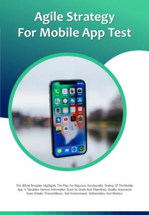 Bi Fold Agile Strategy For Mobile App Test Document Report PDF PPT Template