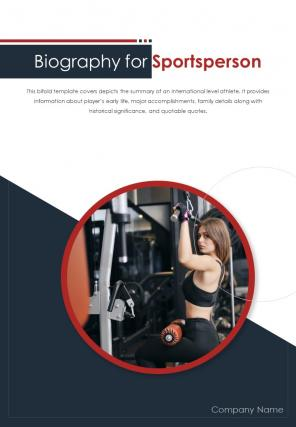 Bi Fold Biography For Sportsperson Document Report PDF PPT Template One Pager