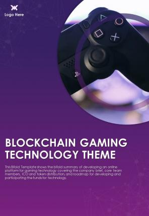 Bi Fold Blockchain Gaming Technology Theme Document Report PDF PPT Template