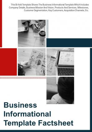 Bi Fold Business Informational Factsheet Document Report PDF PPT Template