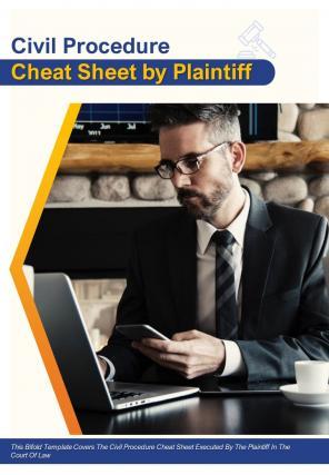 Bi Fold Civil Procedure Cheat Sheet By Plaintiff Document Report PDF PPT Template