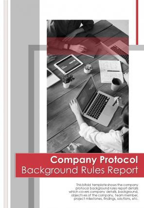 Bi Fold Company Protocol Background Rules Document Report PDF PPT Template