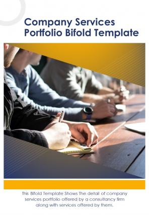 Bi Fold Company Services Portfolio Document Report PDF PPT Template