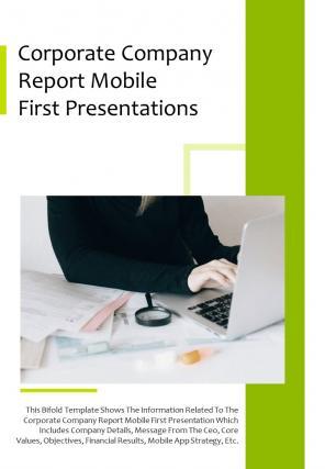Bi Fold Corporate Company Mobile First Presentations Document Report PDF PPT Template