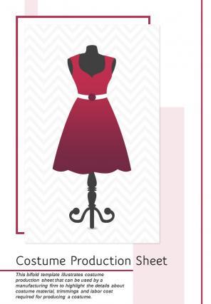 Bi Fold Costume Production Sheet Document Report PDF PPT Template